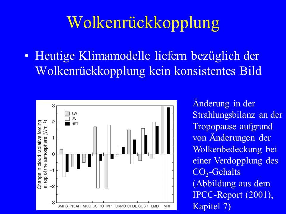 Wolkenrückkopplung Heutige Klimamodelle liefern bezüglich der Wolkenrückkopplung kein konsistentes Bild Änderung in der Strahlungsbilanz an der Tropopause aufgrund von Änderungen der Wolkenbedeckung bei einer Verdopplung des CO 2 -Gehalts (Abbildung aus dem IPCC-Report (2001), Kapitel 7)