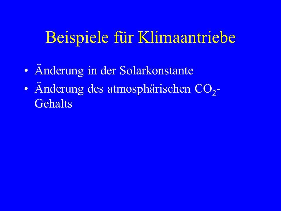 Beispiele für Klimaantriebe Änderung in der Solarkonstante Änderung des atmosphärischen CO 2 - Gehalts