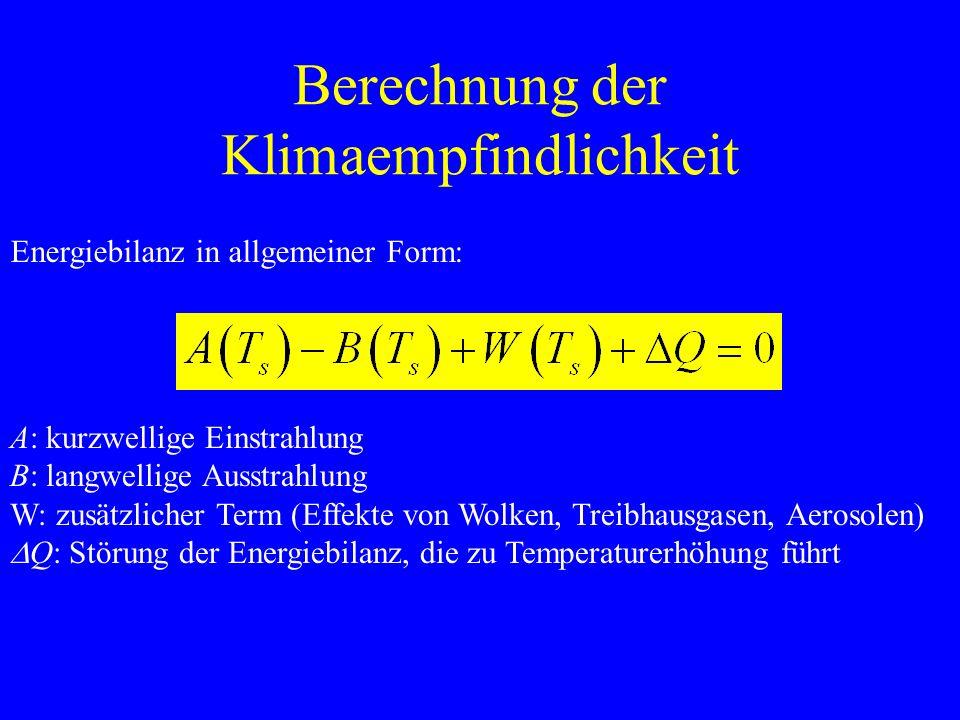 Berechnung der Klimaempfindlichkeit Energiebilanz in allgemeiner Form: A: kurzwellige Einstrahlung B: langwellige Ausstrahlung W: zusätzlicher Term (Effekte von Wolken, Treibhausgasen, Aerosolen) Q: Störung der Energiebilanz, die zu Temperaturerhöhung führt