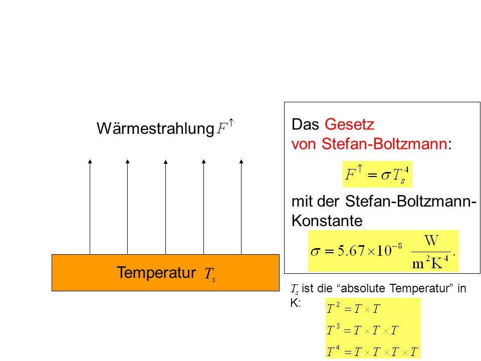 Das Gesetz von Stefan-Boltzmann: mit der Stefan-Boltzmann- Konstante s Temperatur T Wärmestrahlung T s ist die absolute Temperatur in K: