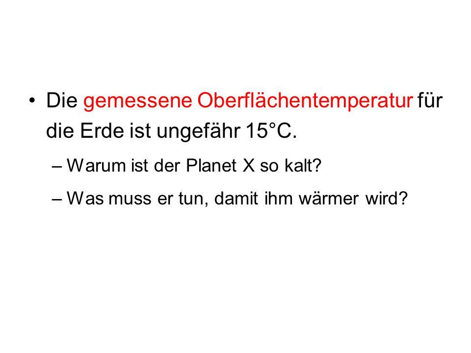 Die gemessene Oberflächentemperatur für die Erde ist ungefähr 15°C. –Warum ist der Planet X so kalt? –Was muss er tun, damit ihm wärmer wird?