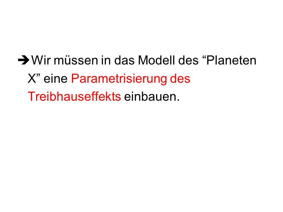Wir müssen in das Modell des Planeten X eine Parametrisierung des Treibhauseffekts einbauen.