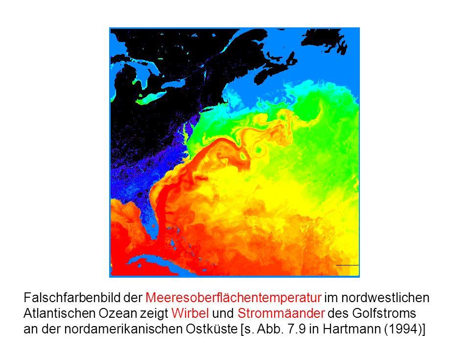 Falschfarbenbild der Meeresoberflächentemperatur im nordwestlichen Atlantischen Ozean zeigt Wirbel und Strommäander des Golfstroms an der nordamerikan