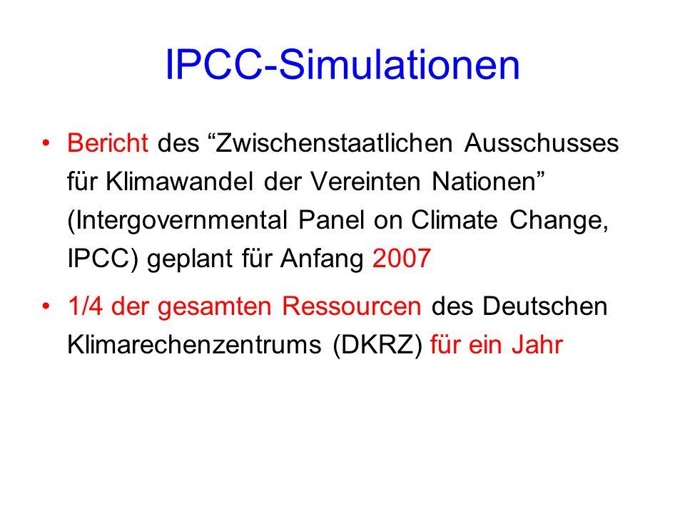 IPCC-Simulationen Bericht des Zwischenstaatlichen Ausschusses für Klimawandel der Vereinten Nationen (Intergovernmental Panel on Climate Change, IPCC)