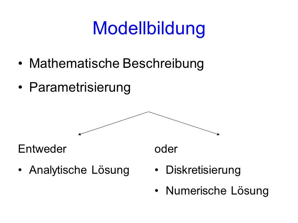 Modellbildung Mathematische Beschreibung Parametrisierung Entweder Analytische Lösung oder Diskretisierung Numerische Lösung