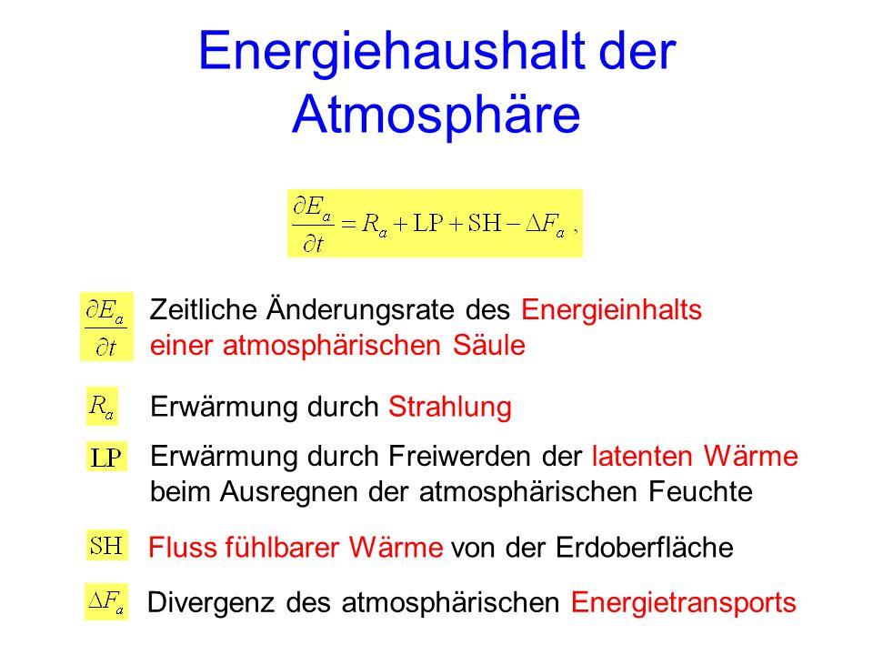 Energiehaushalt der Atmosphäre Zeitliche Änderungsrate des Energieinhalts einer atmosphärischen Säule Erwärmung durch Strahlung Erwärmung durch Freiwerden der latenten Wärme beim Ausregnen der atmosphärischen Feuchte Fluss fühlbarer Wärme von der Erdoberfläche Divergenz des atmosphärischen Energietransports