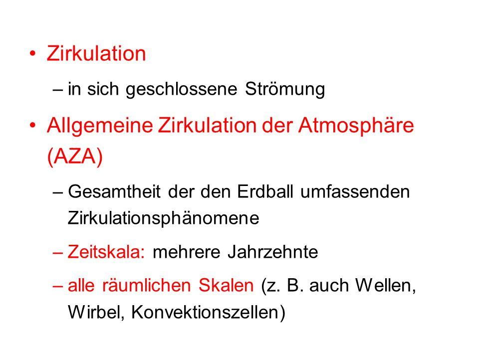 Zirkulation –in sich geschlossene Strömung Allgemeine Zirkulation der Atmosphäre (AZA) –Gesamtheit der den Erdball umfassenden Zirkulationsphänomene –Zeitskala: mehrere Jahrzehnte –alle räumlichen Skalen (z.