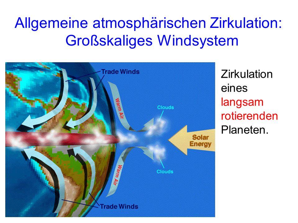 Allgemeine atmosphärischen Zirkulation: Großskaliges Windsystem Zirkulation eines langsam rotierenden Planeten.