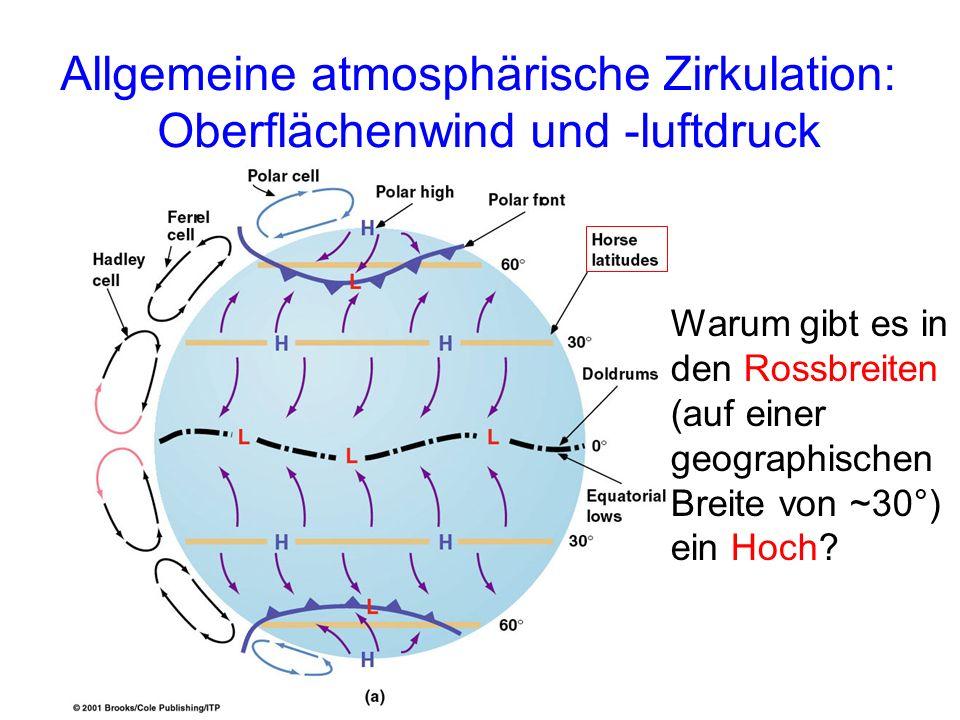 Allgemeine atmosphärische Zirkulation: Oberflächenwind und -luftdruck Warum gibt es in den Rossbreiten (auf einer geographischen Breite von ~30°) ein Hoch?