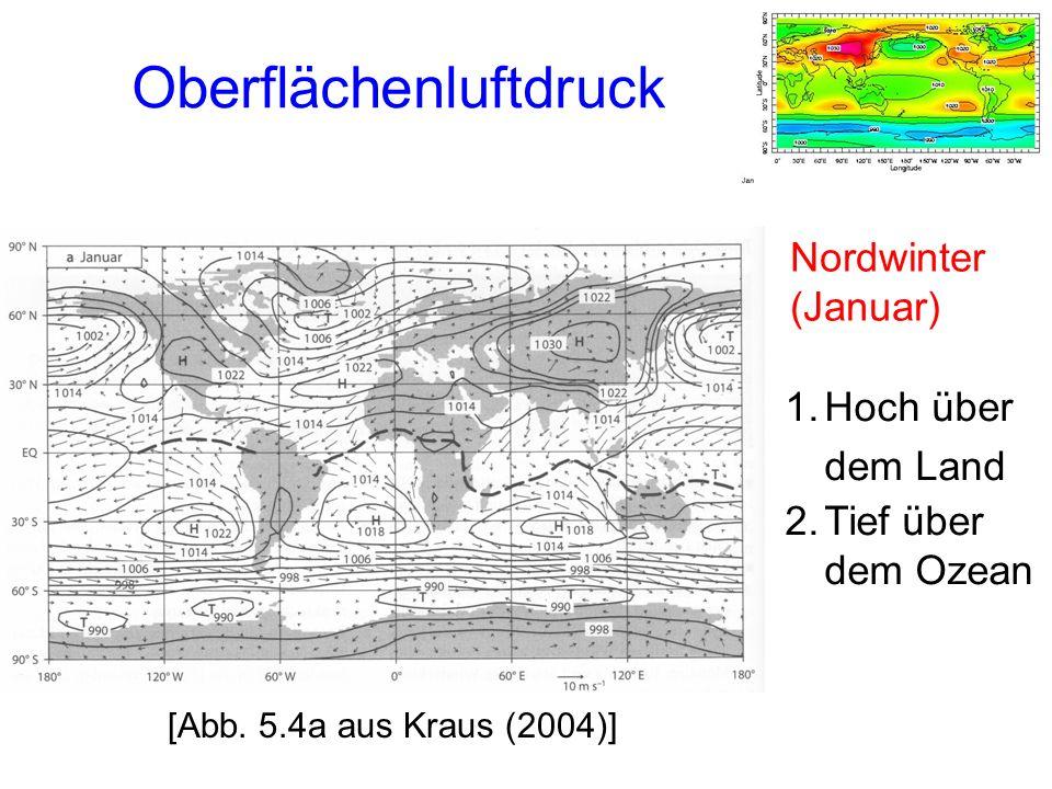 Oberflächenluftdruck 1.Hoch über dem Land 2.Tief über dem Ozean Nordwinter (Januar) [Abb.