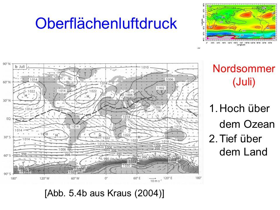 1.Hoch über dem Ozean 2.Tief über dem Land Oberflächenluftdruck Nordsommer (Juli) [Abb.