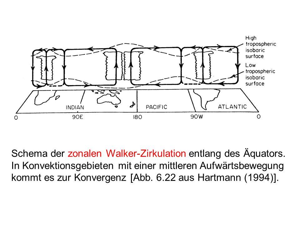 Schema der zonalen Walker-Zirkulation entlang des Äquators.