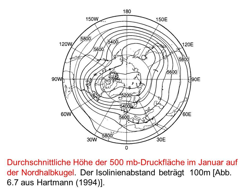 Durchschnittliche Höhe der 500 mb-Druckfläche im Januar auf der Nordhalbkugel.