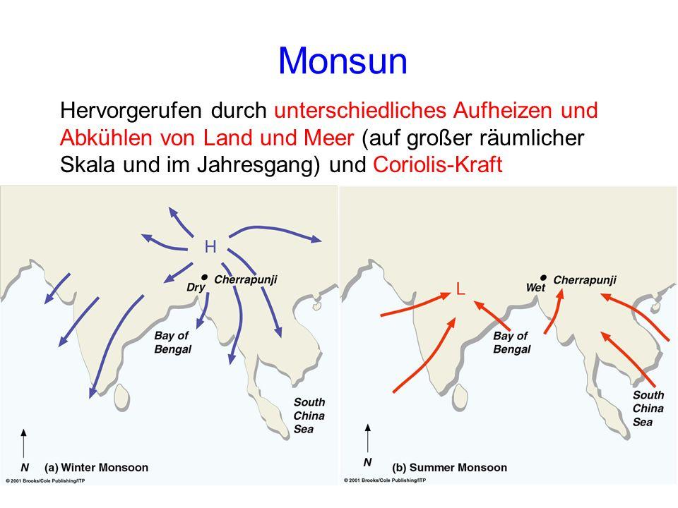 Monsun Hervorgerufen durch unterschiedliches Aufheizen und Abkühlen von Land und Meer (auf großer räumlicher Skala und im Jahresgang) und Coriolis-Kraft