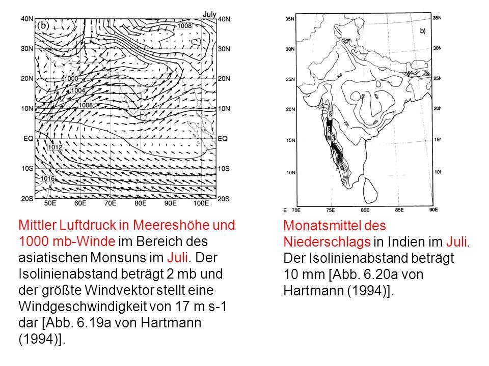 Mittler Luftdruck in Meereshöhe und 1000 mb-Winde im Bereich des asiatischen Monsuns im Juli.