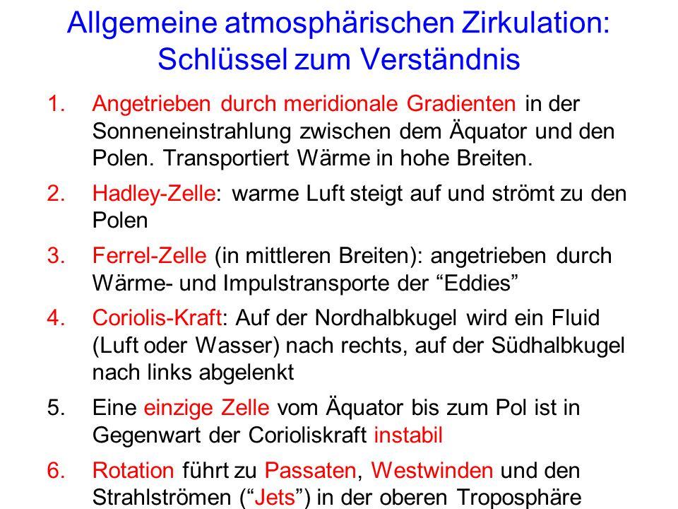 Allgemeine atmosphärischen Zirkulation: Schlüssel zum Verständnis 1.Angetrieben durch meridionale Gradienten in der Sonneneinstrahlung zwischen dem Äquator und den Polen.
