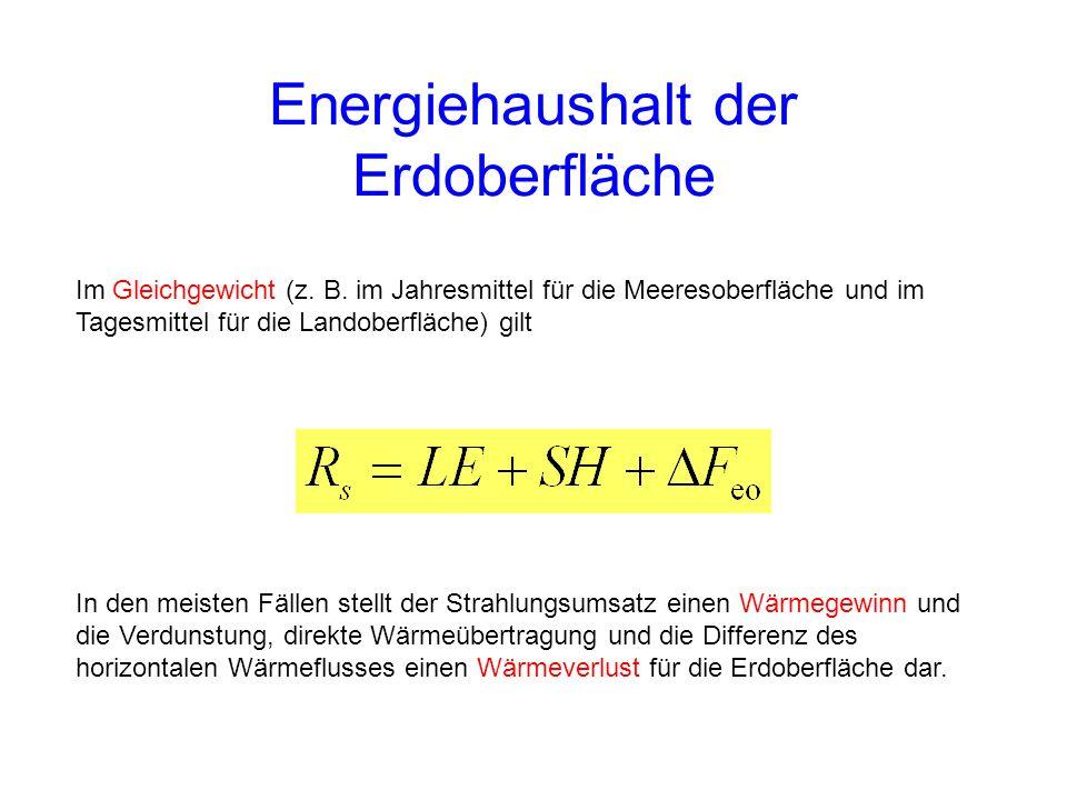 Im Gleichgewicht (z. B. im Jahresmittel für die Meeresoberfläche und im Tagesmittel für die Landoberfläche) gilt Energiehaushalt der Erdoberfläche In