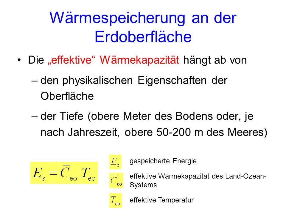 Wärmespeicherung an der Erdoberfläche Die effektive Wärmekapazität hängt ab von –den physikalischen Eigenschaften der Oberfläche –der Tiefe (obere Met