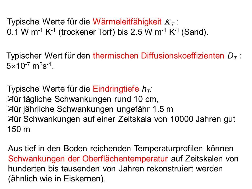 Typische Werte für die Wärmeleitfähigkeit : 0.1 W m -1 K -1 (trockener Torf) bis 2.5 W m -1 K -1 (Sand). Typischer Wert für den thermischen Diffusions