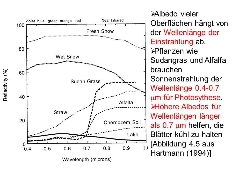 Albedo vieler Oberflächen hängt von der Wellenlänge der Einstrahlung ab. Pflanzen wie Sudangras und Alfalfa brauchen Sonnenstrahlung der Wellenlänge 0