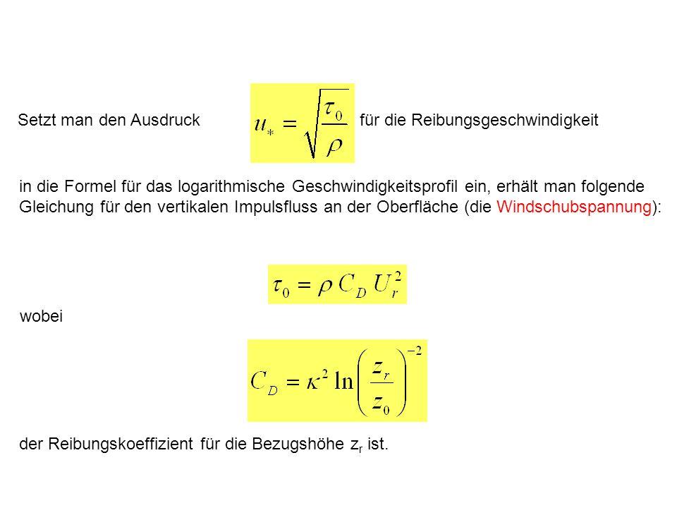 für die Reibungsgeschwindigkeit Setzt man den Ausdruck in die Formel für das logarithmische Geschwindigkeitsprofil ein, erhält man folgende Gleichung