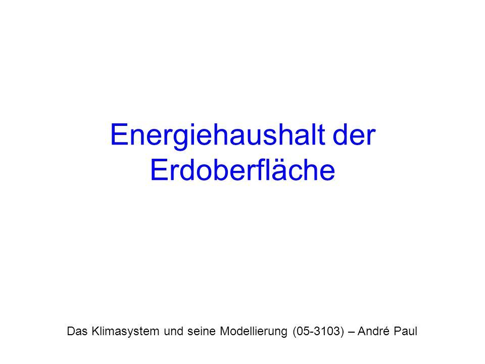 Das Klimasystem und seine Modellierung (05-3103) – André Paul Energiehaushalt der Erdoberfläche