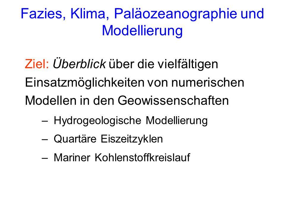 Fazies, Klima, Paläozeanographie und Modellierung Ziel: Überblick über die vielfältigen Einsatzmöglichkeiten von numerischen Modellen in den Geowissen