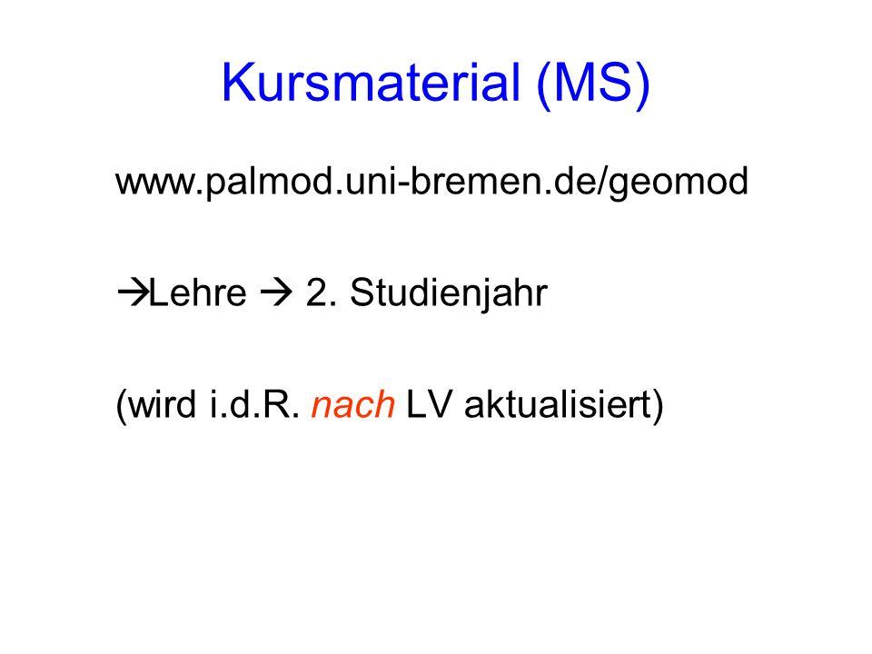 Kursmaterial (MS) www.palmod.uni-bremen.de/geomod Lehre 2. Studienjahr (wird i.d.R. nach LV aktualisiert)