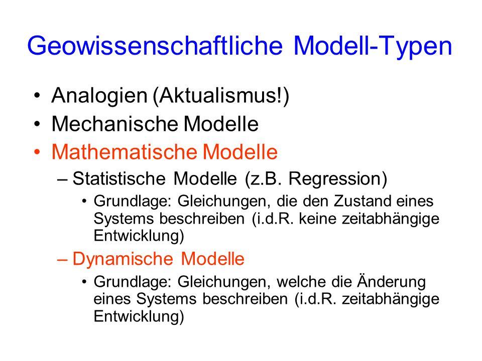 Geowissenschaftliche Modell-Typen Analogien (Aktualismus!) Mechanische Modelle Mathematische Modelle –Statistische Modelle (z.B. Regression) Grundlage