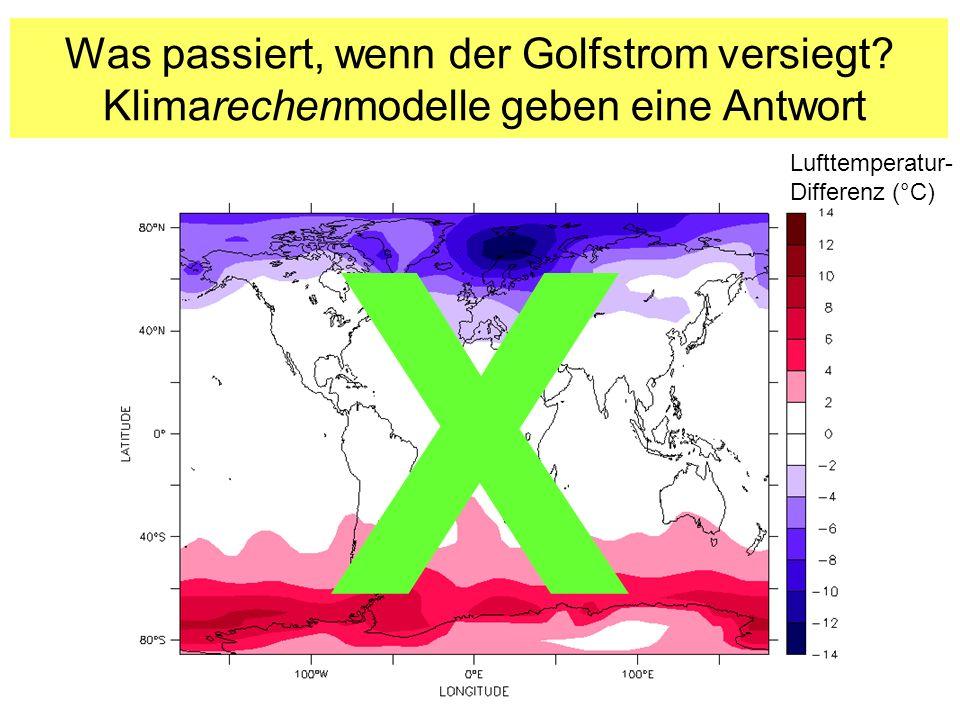 Was passiert, wenn der Golfstrom versiegt? Klimarechenmodelle geben eine Antwort Lufttemperatur- Differenz (°C) X