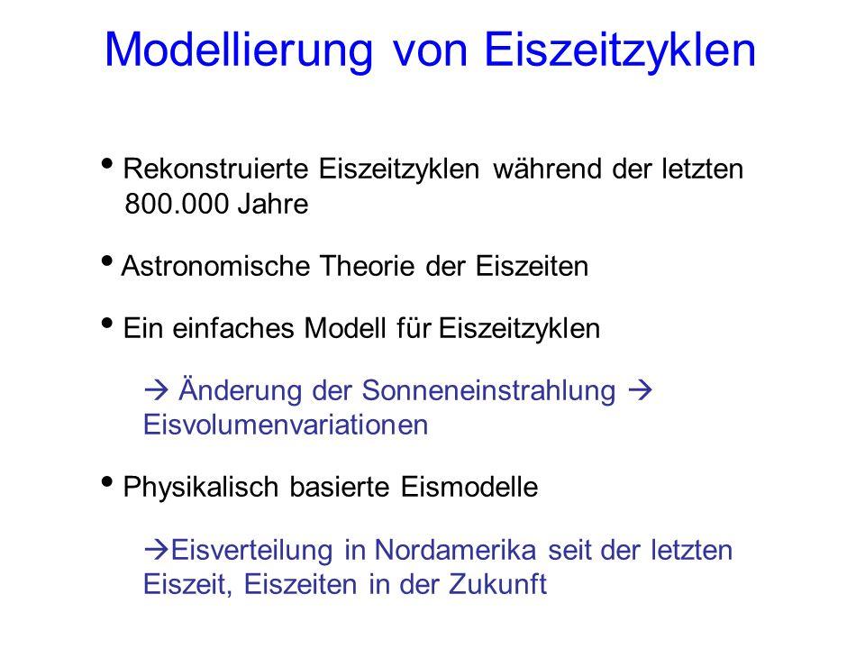 Experimente mit dem Eismodell 1 Starten Sie das Modell mit den Standardeinstellungen Vergleichen Sie den modellierten Meeresspiegel mit den rekonstruierten Werten.