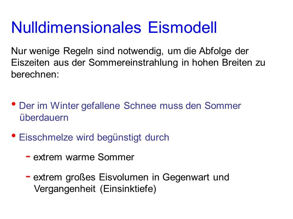 Nulldimensionales Eismodell Nur wenige Regeln sind notwendig, um die Abfolge der Eiszeiten aus der Sommereinstrahlung in hohen Breiten zu berechnen: D