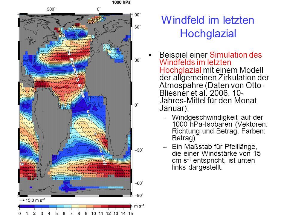 Windfeld: Unterschied letztes Hochglazial zu heute Anomalie des Windfelds im Hochglazial bezogen auf das heutige Windfeld (Daten von Otto-Bliesner et al.