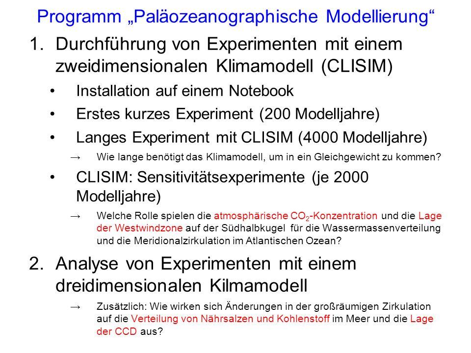 Programm Paläozeanographische Modellierung 1.Durchführung von Experimenten mit einem zweidimensionalen Klimamodell (CLISIM) Installation auf einem Notebook Erstes kurzes Experiment (200 Modelljahre) Langes Experiment mit CLISIM (4000 Modelljahre) Wie lange benötigt das Klimamodell, um in ein Gleichgewicht zu kommen.