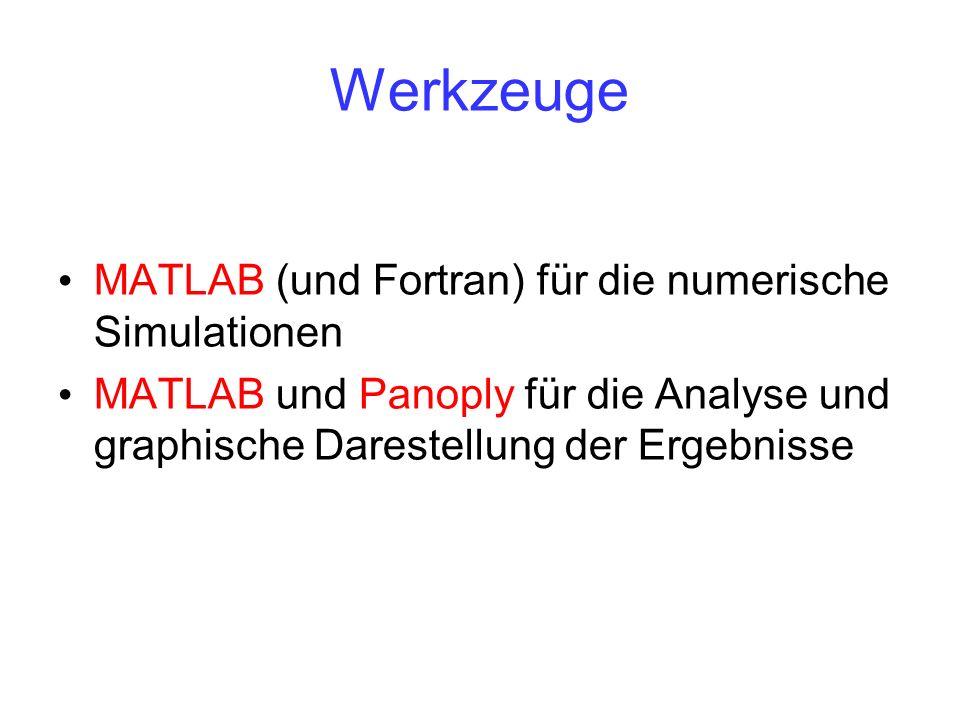 Werkzeuge MATLAB (und Fortran) für die numerische Simulationen MATLAB und Panoply für die Analyse und graphische Darestellung der Ergebnisse