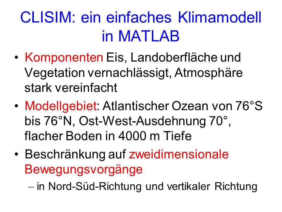 CLISIM: ein einfaches Klimamodell in MATLAB Komponenten Eis, Landoberfläche und Vegetation vernachlässigt, Atmosphäre stark vereinfacht Modellgebiet: