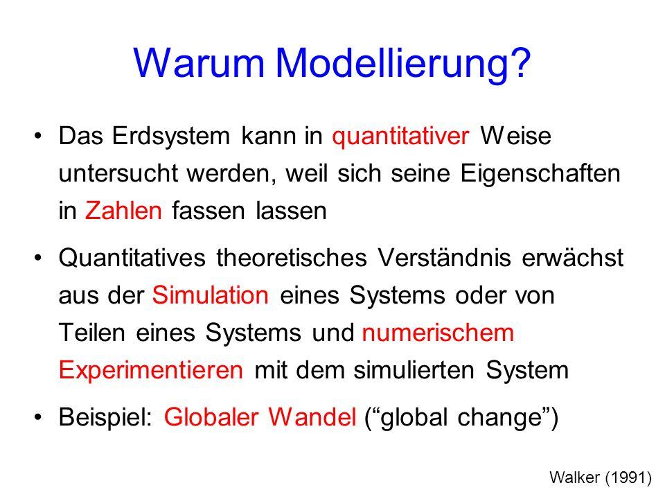 Warum Modellierung? Das Erdsystem kann in quantitativer Weise untersucht werden, weil sich seine Eigenschaften in Zahlen fassen lassen Quantitatives t