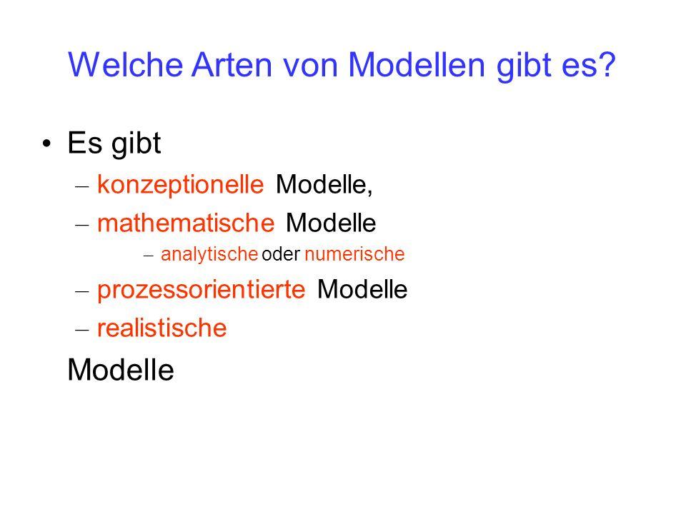 Welche Arten von Modellen gibt es? Es gibt – konzeptionelle Modelle, – mathematische Modelle – analytische oder numerische – prozessorientierte Modell