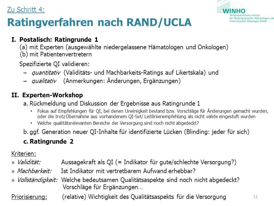 Zu Schritt 4: Ratingverfahren nach RAND/UCLA I.Postalisch: Ratingrunde 1 (a) mit Experten (ausgewählte niedergelassene Hämatologen und Onkologen) (b)