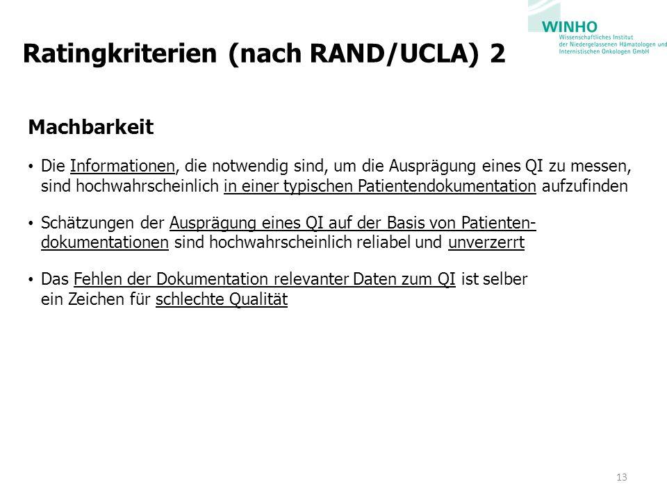 Ratingkriterien (nach RAND/UCLA) 2 Machbarkeit Die Informationen, die notwendig sind, um die Ausprägung eines QI zu messen, sind hochwahrscheinlich in