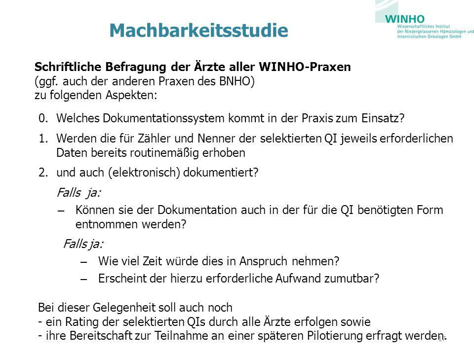 Machbarkeitsstudie Schriftliche Befragung der Ärzte aller WINHO-Praxen (ggf. auch der anderen Praxen des BNHO) zu folgenden Aspekten: 0.Welches Dokume
