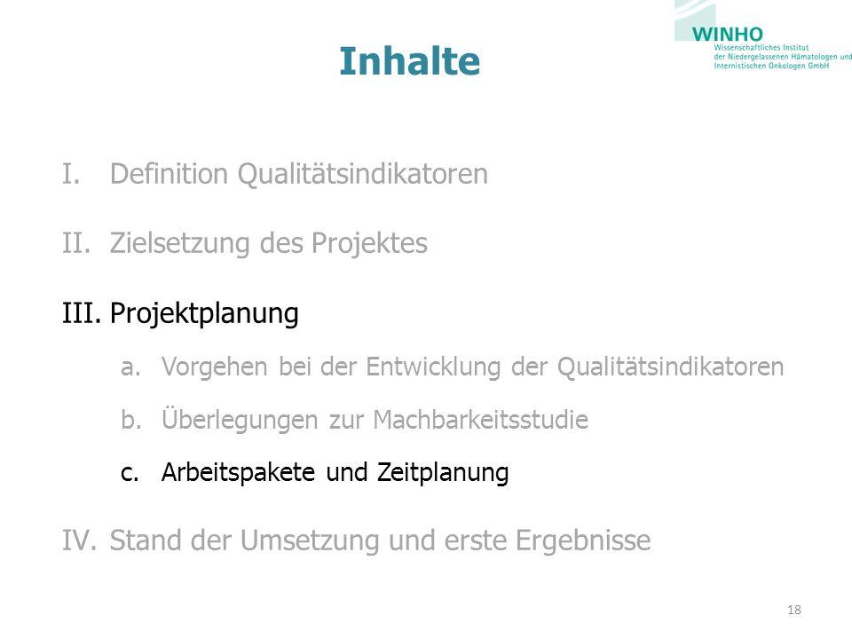 Inhalte I.Definition Qualitätsindikatoren II.Zielsetzung des Projektes III.Projektplanung a.Vorgehen bei der Entwicklung der Qualitätsindikatoren b.Überlegungen zur Machbarkeitsstudie c.Arbeitspakete und Zeitplanung IV.Stand der Umsetzung und erste Ergebnisse 18