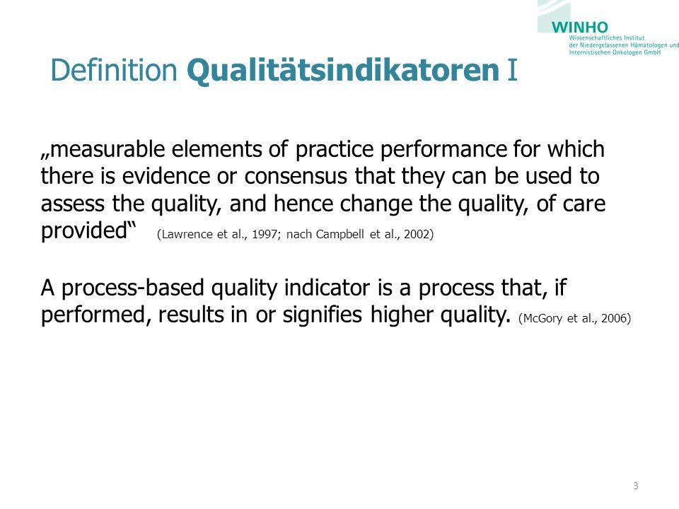 Definition Qualitätsindikatoren II Als eindeutig definierte, quantifizierte Messgrößen (Geraedts et al., 2005) bilden Qualitätsindikatoren (QI) jeweils spezifische Teilaspekte der Versorgungsqualität ab.