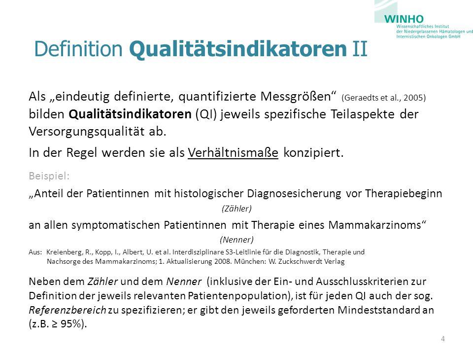 Definition Qualitätsindikatoren II Als eindeutig definierte, quantifizierte Messgrößen (Geraedts et al., 2005) bilden Qualitätsindikatoren (QI) jeweil