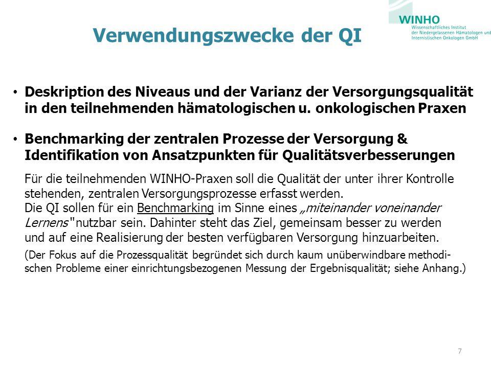 Verwendungszwecke der QI Deskription des Niveaus und der Varianz der Versorgungsqualität in den teilnehmenden hämatologischen u.