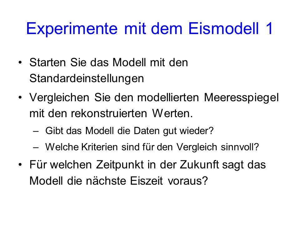 Experimente mit dem Eismodell 1 Starten Sie das Modell mit den Standardeinstellungen Vergleichen Sie den modellierten Meeresspiegel mit den rekonstrui