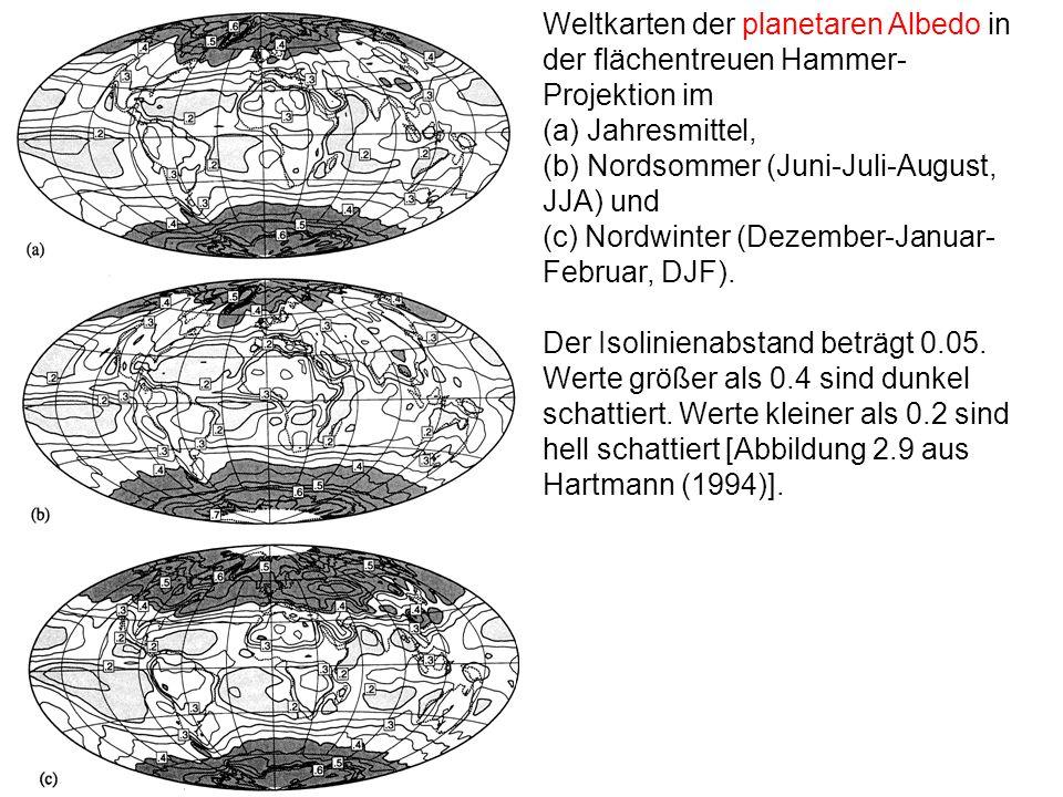 Weltkarten der planetaren Albedo in der flächentreuen Hammer- Projektion im (a) Jahresmittel, (b) Nordsommer (Juni-Juli-August, JJA) und (c) Nordwinte