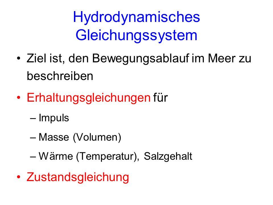 Hydrodynamisches Gleichungssystem Ziel ist, den Bewegungsablauf im Meer zu beschreiben Erhaltungsgleichungen für –Impuls –Masse (Volumen) –Wärme (Temp