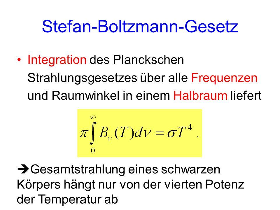 Stefan-Boltzmann-Gesetz Integration des Planckschen Strahlungsgesetzes über alle Frequenzen und Raumwinkel in einem Halbraum liefert Gesamtstrahlung e