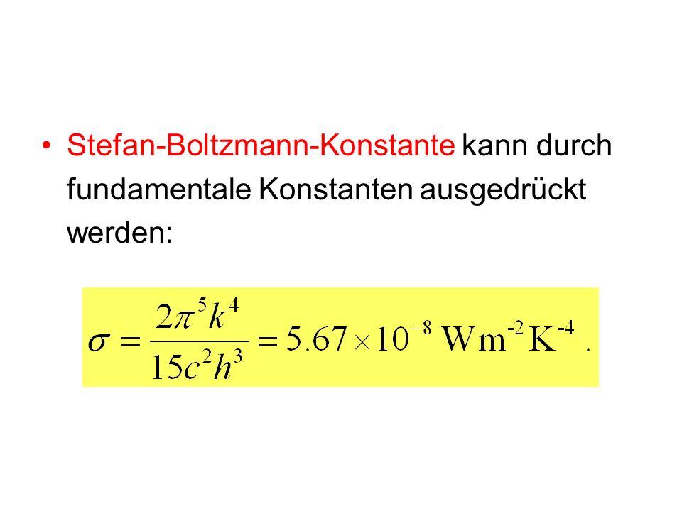 Stefan-Boltzmann-Konstante kann durch fundamentale Konstanten ausgedrückt werden: